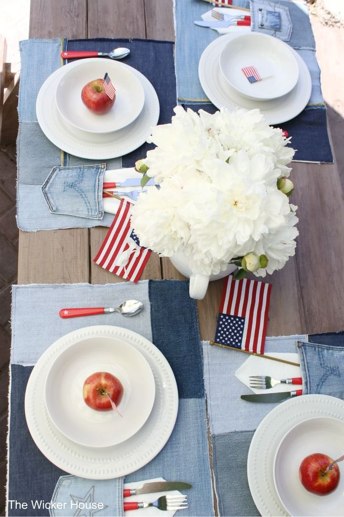 Easy Sew Denim Placemats & A Patriotic table setting - The Wicker House