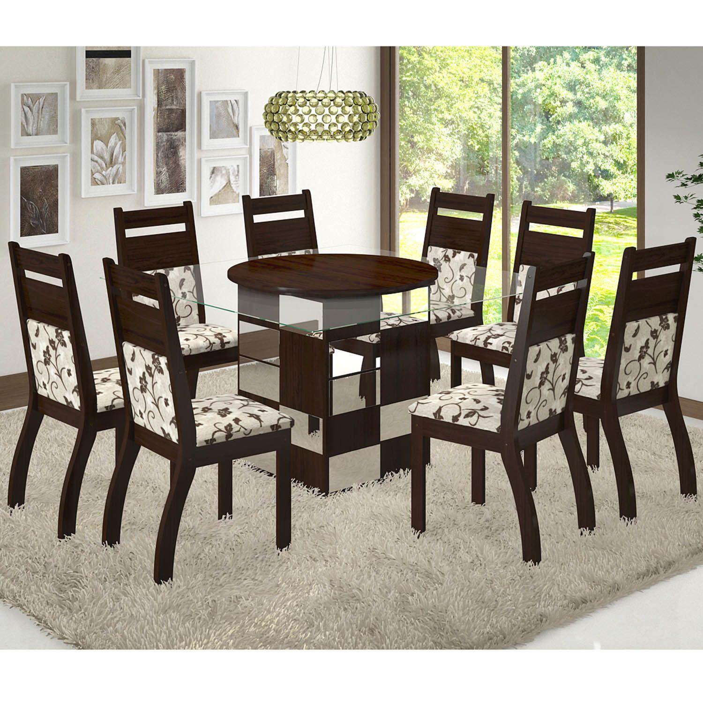 Conjunto Para Sala De Jantar Mesa E 8 Cadeiras Viero Mil O Com