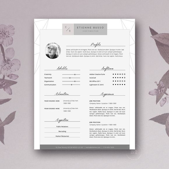 Stylish Resume Template  Ms Word By Botanica Paperie On