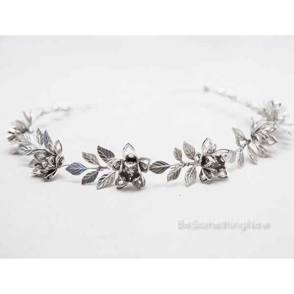 Grecian Silver Metal Leaf and Flower Headband Silver Wedding Headpiece...  ( 55)… 01b1affae26
