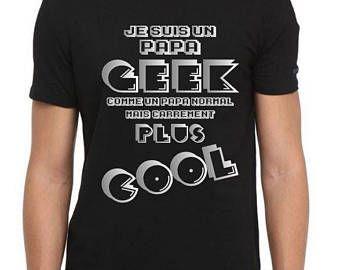 tee shirt noir argent homme papa geek jeux vid o t shirt id e cadeau anniversaire no l f te. Black Bedroom Furniture Sets. Home Design Ideas
