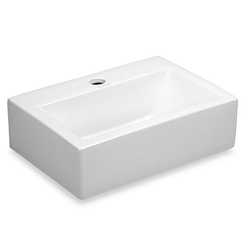 The straight lines of this classic white porcelain rectangle sink fit in any decor. This is a rectangle wall-mounted white porcelain sink with a compact design that fits easily in small spaces.