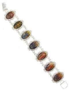 Catholic Silver Angel Bracelet. Gabriel, Jofiel, Miguel, Rafael, Samuel, Uriel, Zadquiel. 1 Inch L with Design. Foldover Clasp. 7 Inches Lon...