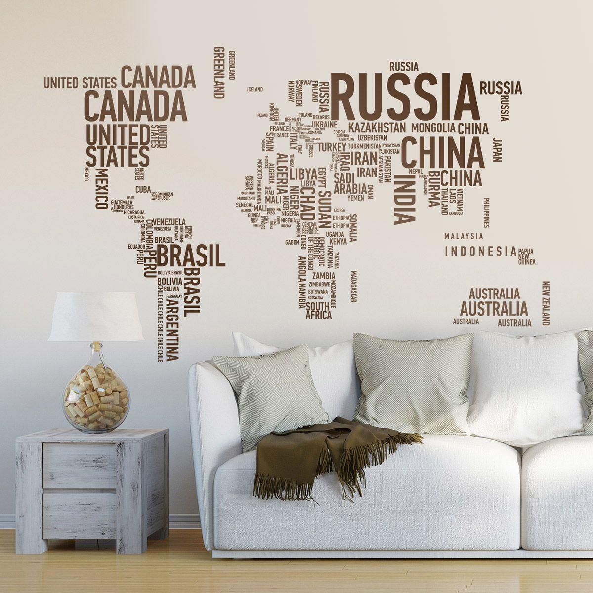 Vinilos Decorativos oficina: Mapamundi o mapa del mundo tipográfico ...