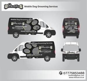 Signage Design Job Mobile Dog Grooming Van Design Winning Design By Anung Shudax Mobile Pet Grooming Dog Walking Business Dog Grooming