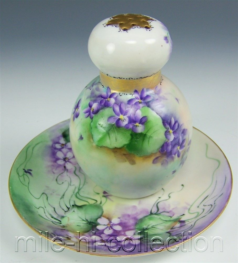 1911 bavaria hand painted violets muffineer sugar shaker & plate m