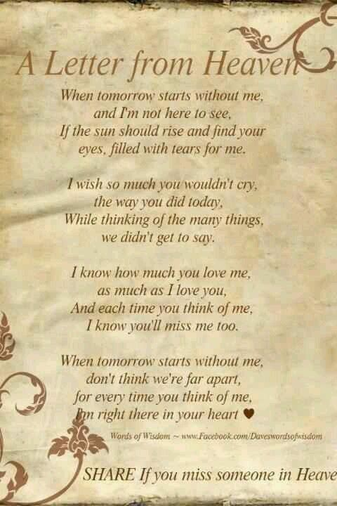 Quotes That I Love Letter From Heaven Grief Quotes Inspirational Quotes