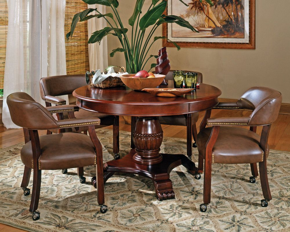 steve silver tournament 5 piece 50 inch round game table set in
