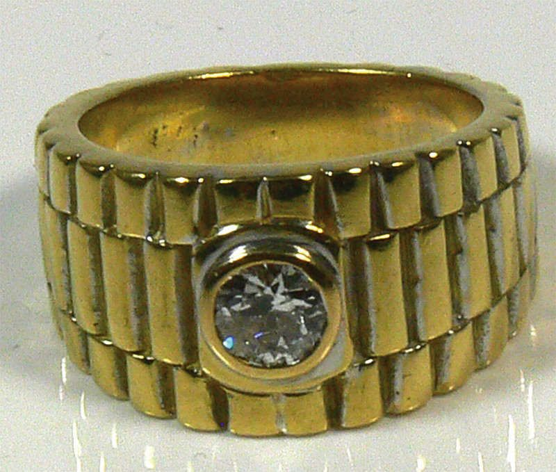 Gentlemen ring, 750er gold, 23.8 g, with diamonds