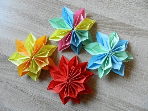 Origami flower dahlia . Easy to do and rich. Ideas for Christmas decoration - YouTube
