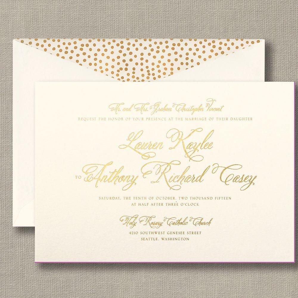 Foil Stamped Wedding Invitation With Magenta Painted Edge Wedding Invita Foil Pressed Wedding Invitations Wedding Invitation Trends Wedding Invitation Design