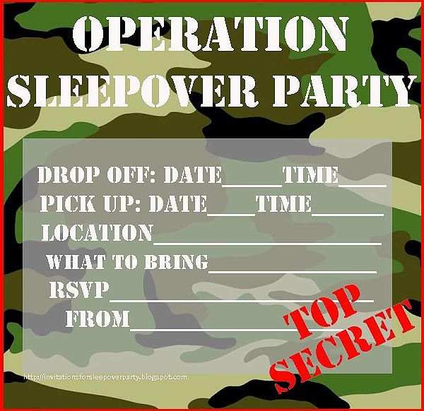 For boys too, sleepover invites that you print and then fill in ...