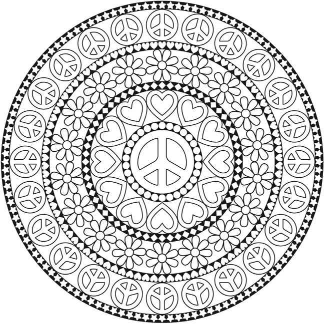 FREE #Printable Peace Sign Mandala Adult Coloring Page ...