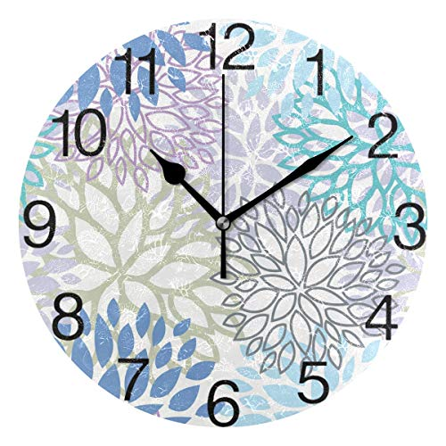 AmazonSmile: White Dahlia Round Wall Clock, Silent Non Ticking Oil Painting Decorative for Home Office School Clock Art, Blue Grey And Purple: Home & Kitchen #bluegreykitchens