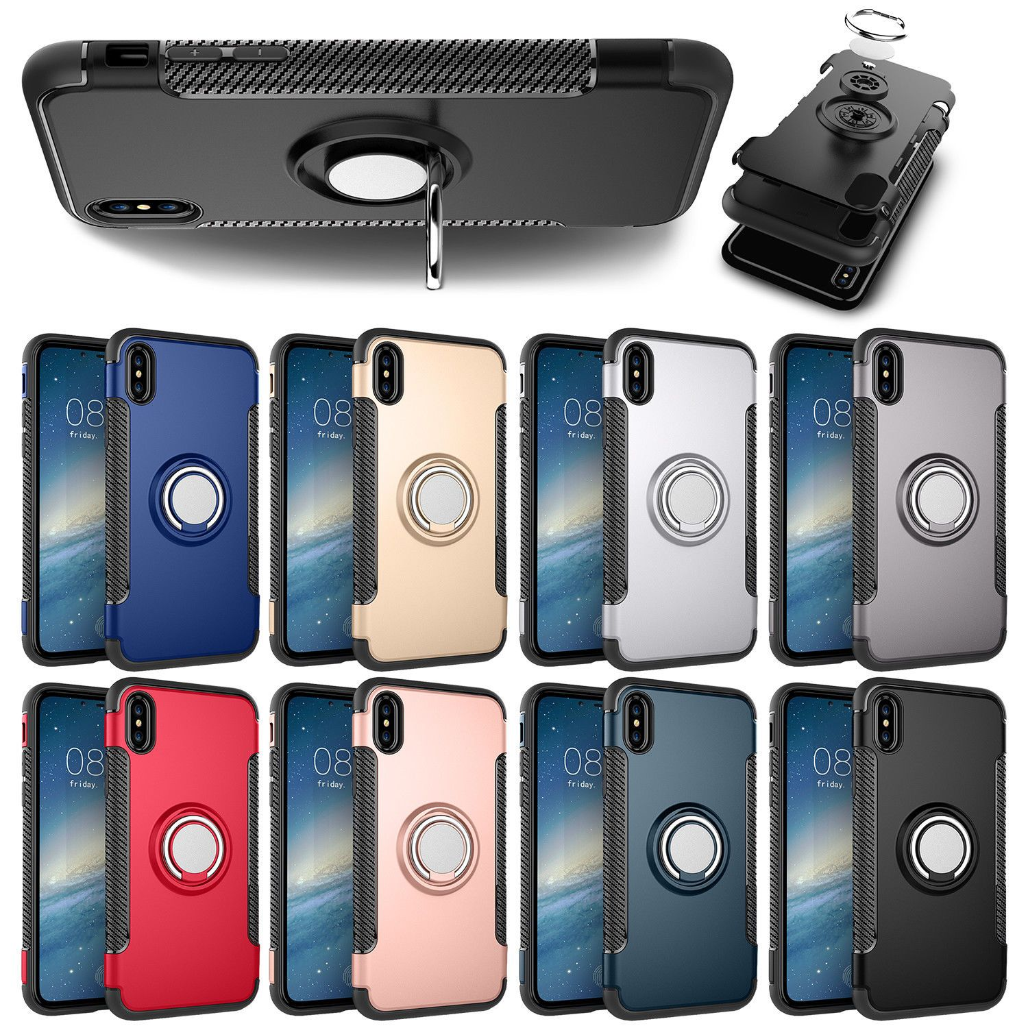 For Iphone 7 8 Plus X 6s Hybrid Magnetic Soft Tpu Ring Stand Case 2in1 Brushed Armor Lg K8 Hardcase Silicone Cover