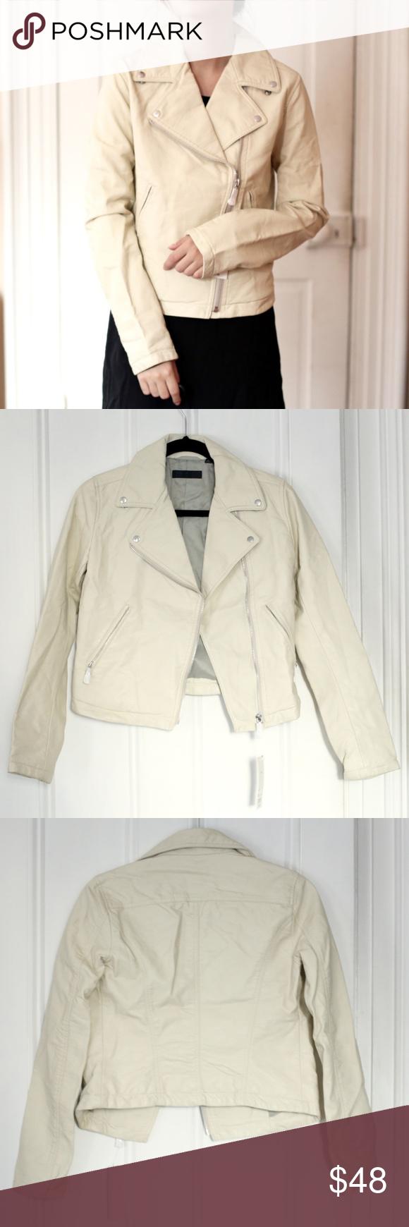 Uniqlo OffWhite Cream Faux Vegan Leather Jacket NWT