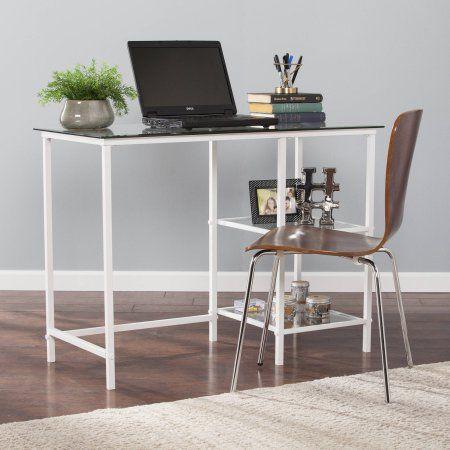 Magnificent Southern Enterprises Laykin Metal Glass Student Desk White Download Free Architecture Designs Oxytwazosbritishbridgeorg