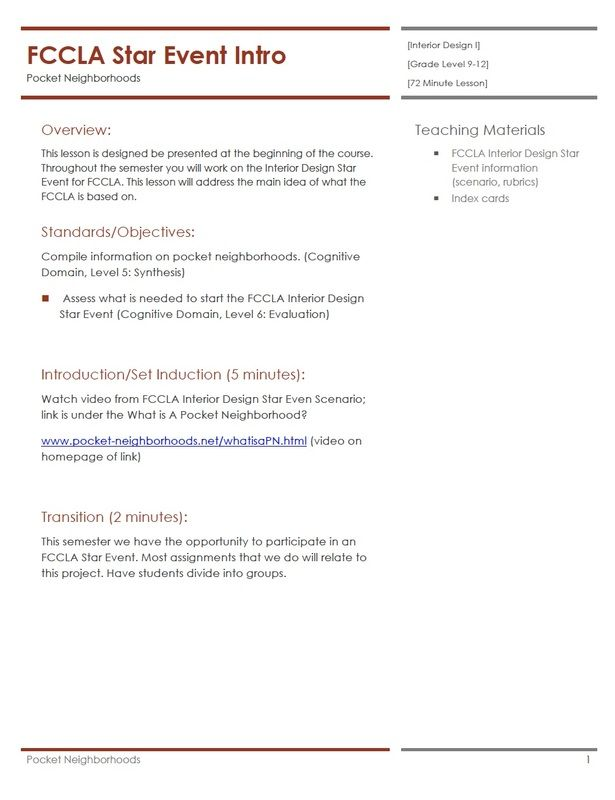 Fccla star event introduction interior design housing - Housing and interior design lesson plans ...