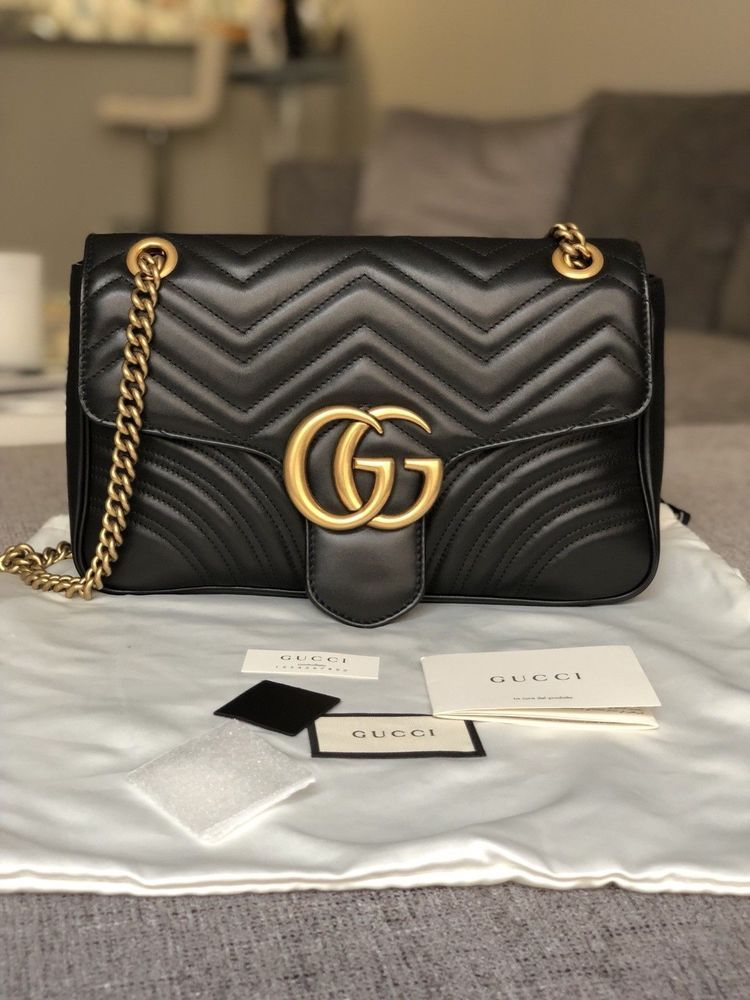896e804079ad Authentic Gucci GG Marmont Matelassé Medium shoulder bag Black Leather  #fashion #clothing #shoes #accessories #womensbagshandbags ...