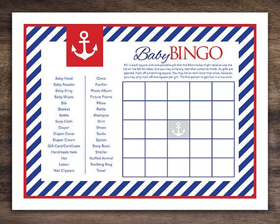 Instant Download, Anchor Baby Shower Bingo Cards, Printable Sailor Theme  Party Game Sheets For