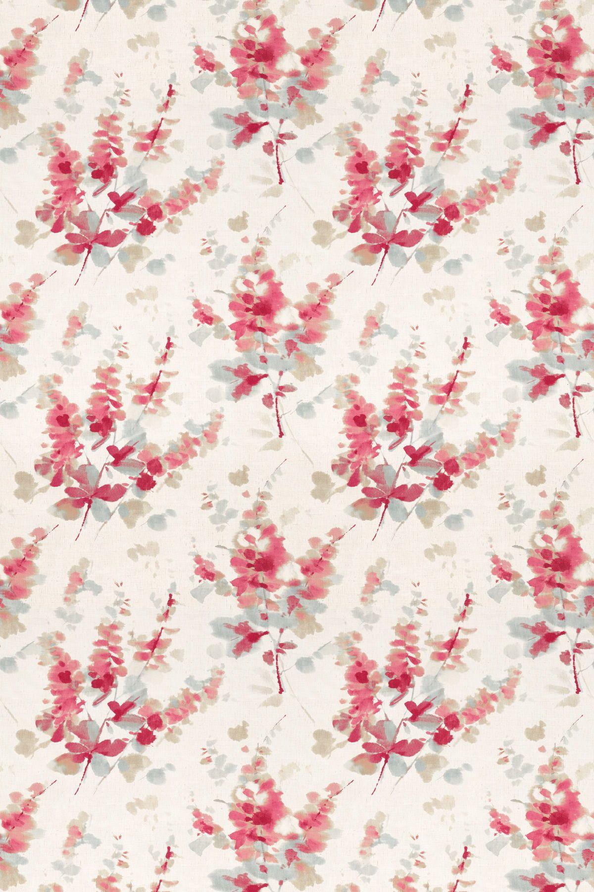 Delphiniums coral by sanderson fabric 226290