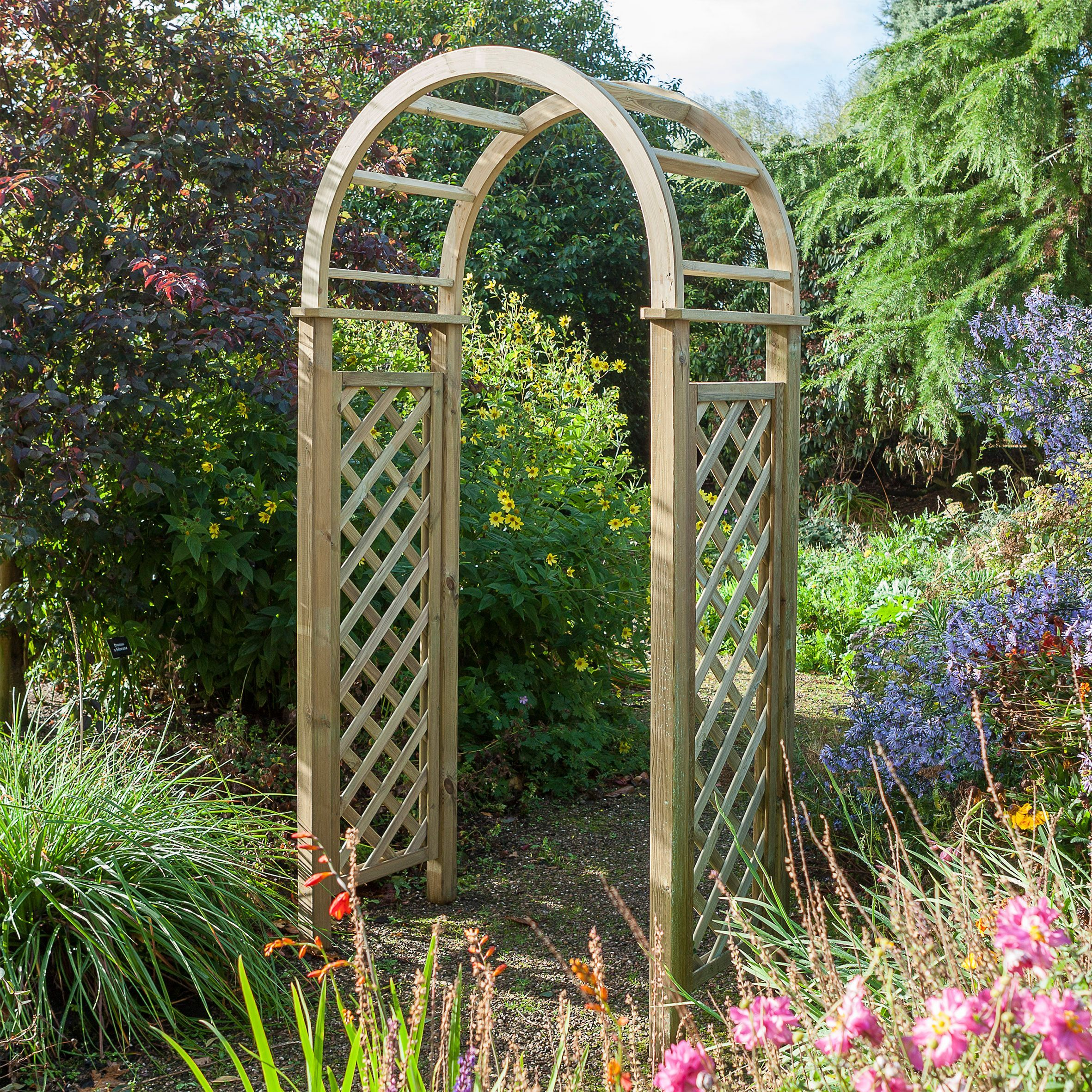 Blooma softwood round top arch arches round top and diy for Timber garden arch designs