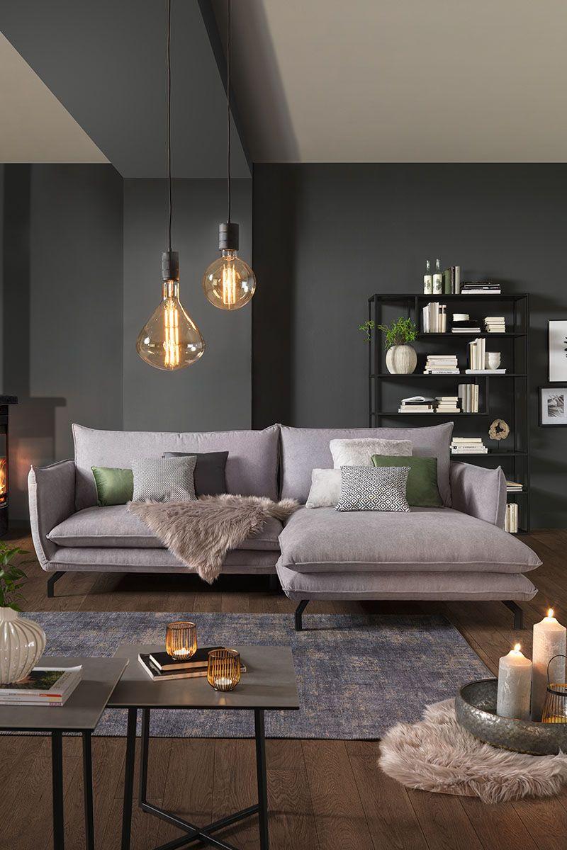 Wohnlandschaft in Textilgrau, Wohnlandschaft, grau, Sofa, Couch