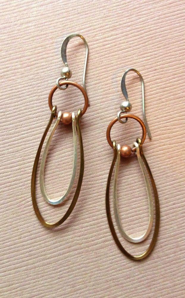 Handmade Silver and Copper Dangle Hoop Earrings by Lammergeier