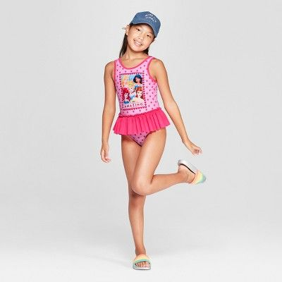 1c132e3beff75 Girls  Disney Princess One Piece Swimsuit - Pink L in 2019 ...