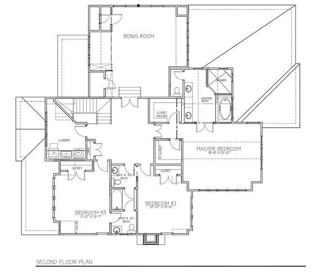 Second Floor Floor Plan. Second Floor Floor Plan With Three Bedrooms,  Upstairs Laundry Room And Bonus Room.