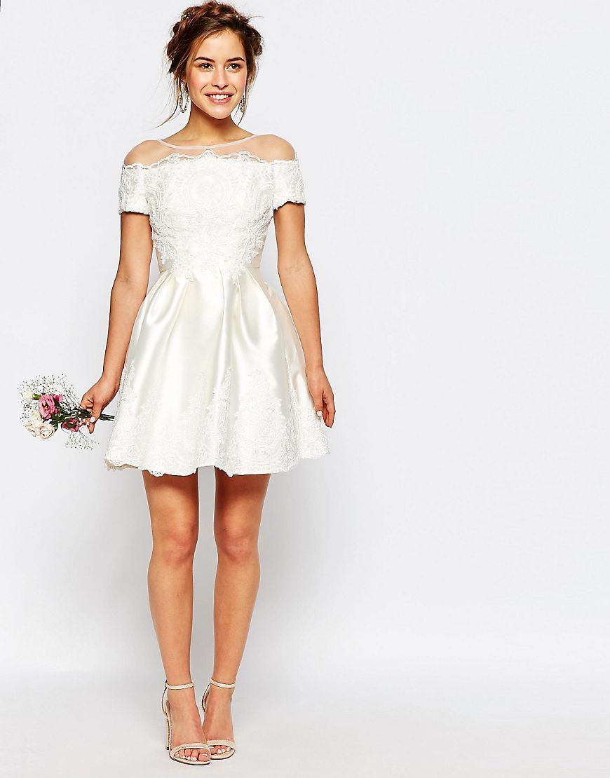 4bdaf475913 ASOS Chi Chi London Petite Bridal Mini Dress