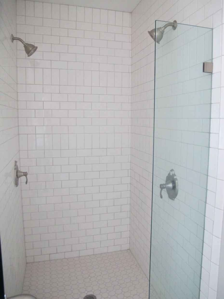 subway tile - turned vertical to add a decorative stripe | Bathroom ...