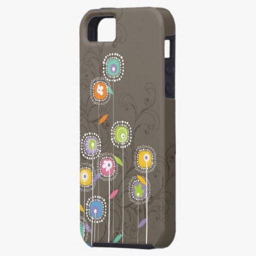 It's cute! This Colorful Abstract Retro Flowers Brown Background iPhone 5 is so unique!