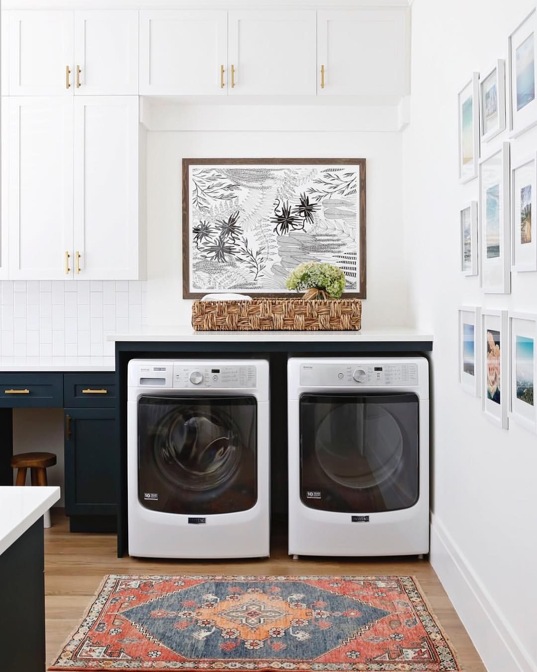 Love The Navy And White Combo For This Simple Laundry Room Rug From Scott Antique Mark Vintage Laundry Room Decor Laundry Room Wall Decor Small Laundry Rooms