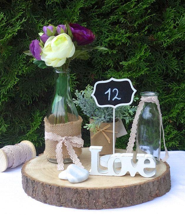 Tischdeko holzscheiben  Baumscheibe Tischdeko Vintage Hochzeit | Baumscheiben ...
