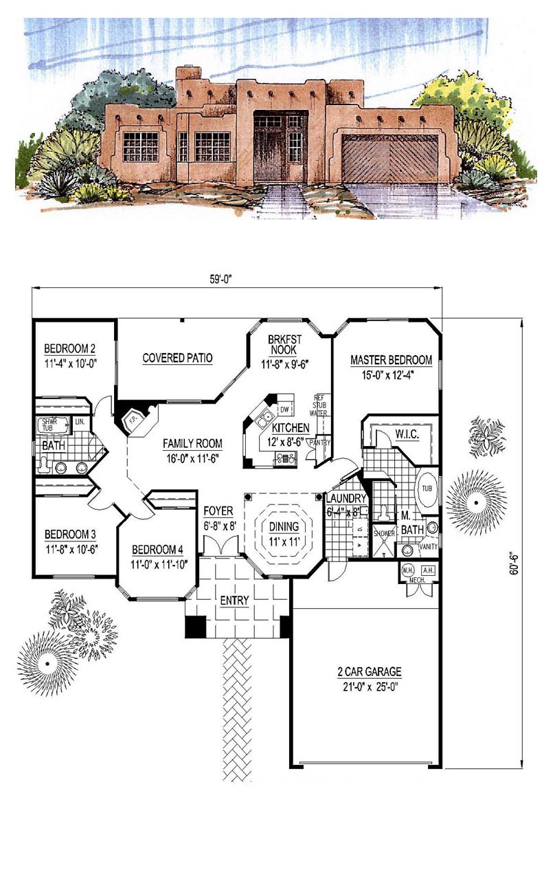 Santa fe southwest house plan 54678 santa fe bedrooms for Southwest home floor plans