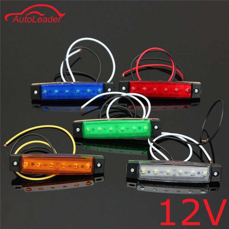 1pcs 12v 6 Led Car Truck Trailer Side Marker Indicators Lights Brake Signal Lamp Red Green Yellow White Blue Led Trailer Lights Lorry Indicator Lights