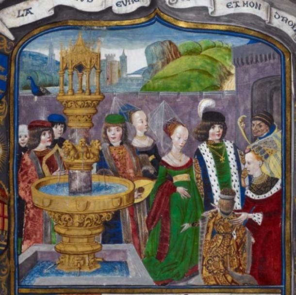 Detail Of A 15th Century Miniature Depicting An Allegorical Court Of Love Royal 16 F Ii F 1 British Libra Medieval Tapestry Medieval Art Medieval Paintings