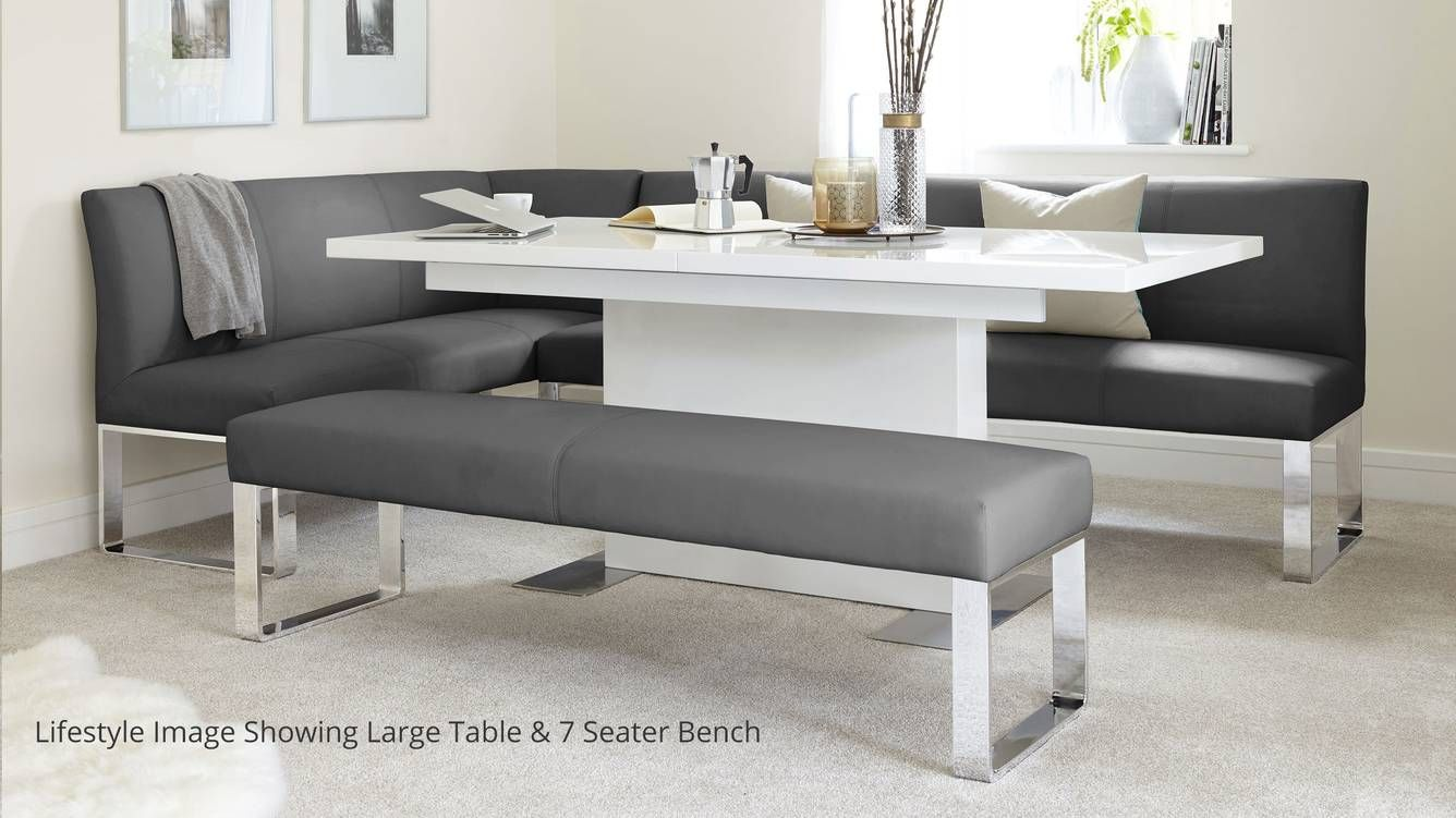 Sanza White Gloss And Loop 5 Seater Right Hand Corner Bench Dining Set Dining Set With Bench Corner Bench Dining Set Dining Room Corner