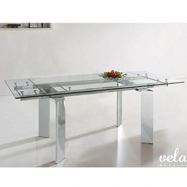 Mesa para comedor extensible de dise o ideal para - Mesa comedor cristal y acero ...