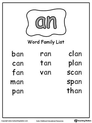 An Word Family List Word Families Word Family Worksheets Phonics Words
