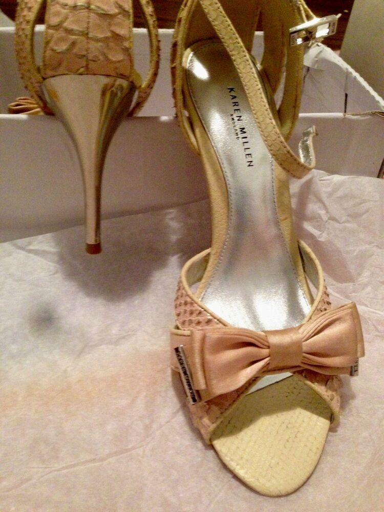 81319d0cf766 Karen Millen Sandals Gold Snake Leather Yellow with Bow and metal heel