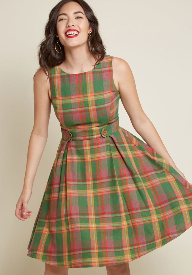 3e368c5d76 Something Sixties Cotton-Linen Dress in Plaid in XXS - Sleeveless A-line  Knee Length by ModCloth