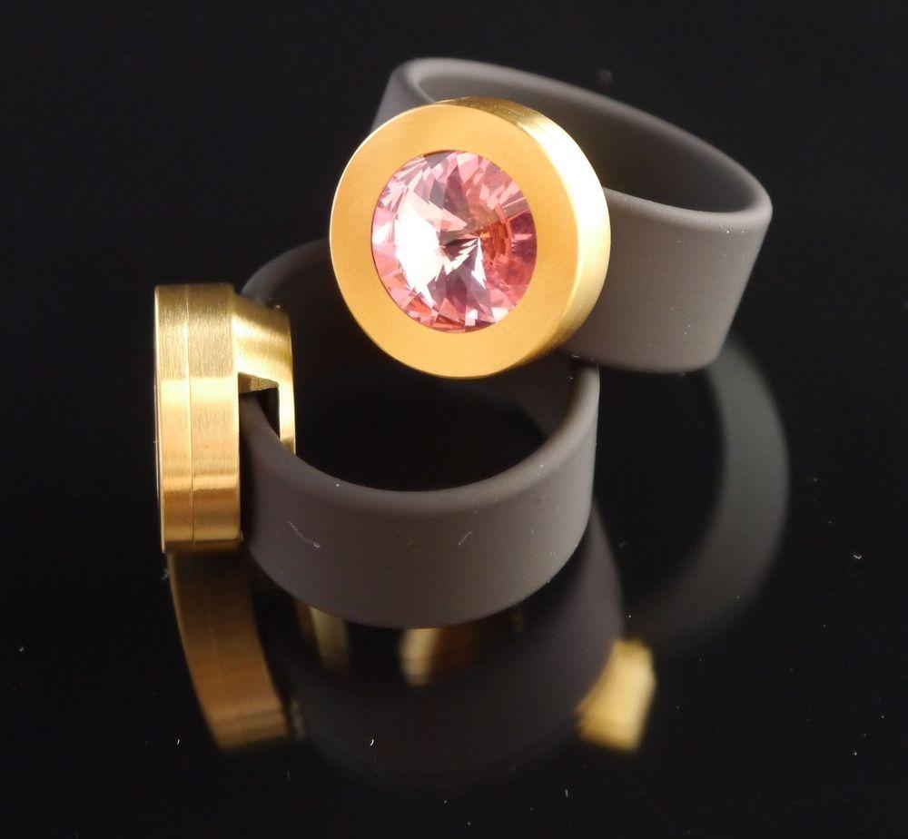 Silikonring + Edelstahl Kopf PVD Gold + SWAROVSKI ELEMENTS Fb. Light Rose-$32.04-(ring-rings )