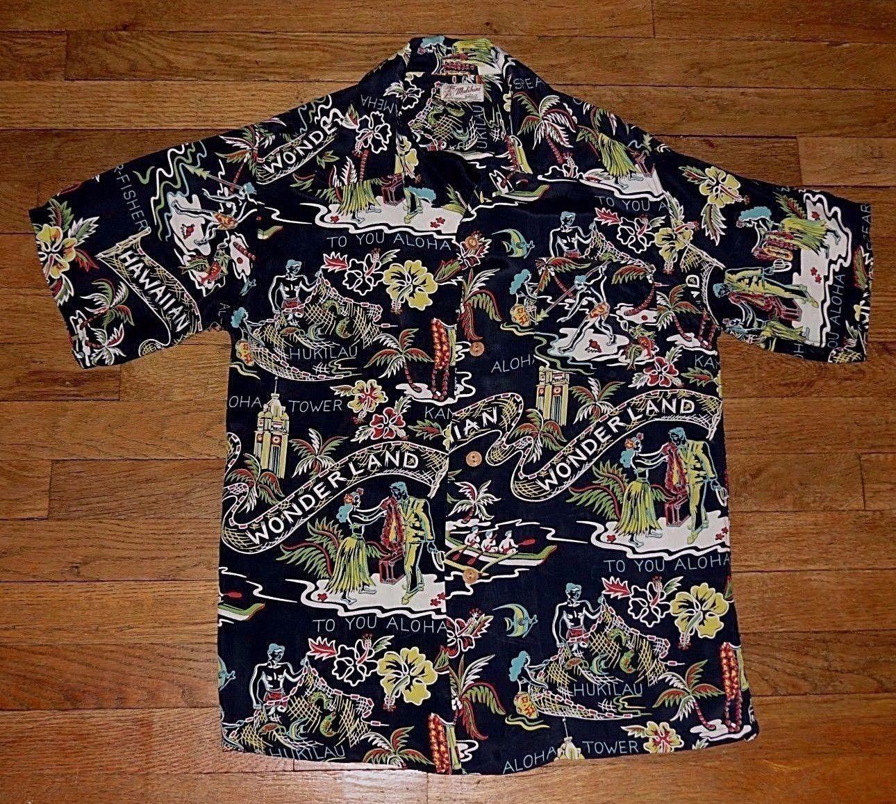 1855799b Malihini, Rayon - Hawaiian Wonderland, Black Vintage Hawaiian Shirts, Aloha  Shirt, 50s