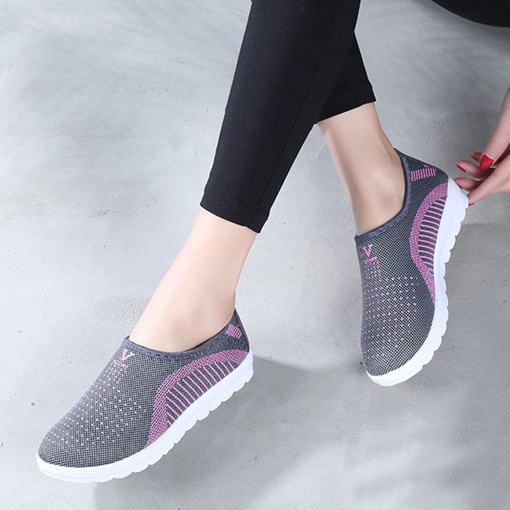 2449765670 MUQGEW las mujeres de malla zapatos planos zapatos patchwork slip-on de  algodón Casual zapatos para mujer a rayas zapatillas de deporte mocasines  suave ...