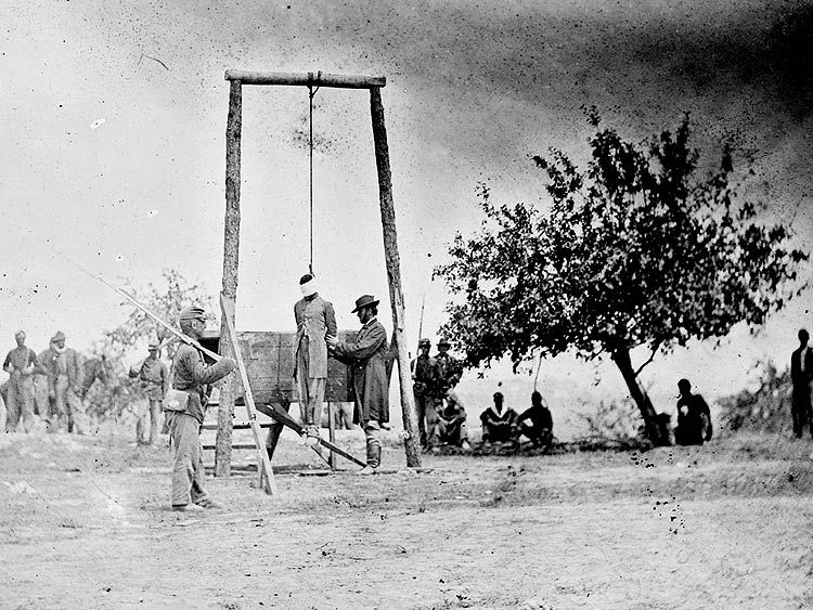 Hanging a Deserter (William Johnson). Execution of a colored soldier, June 20, 1864.