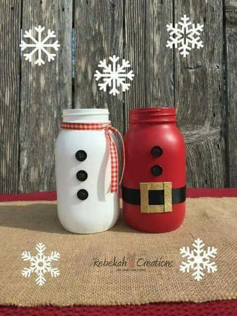 Santa Claus And Snowman Mason Jars For Christmas Christmas Jars Christmas Vases Christmas Mason Jars