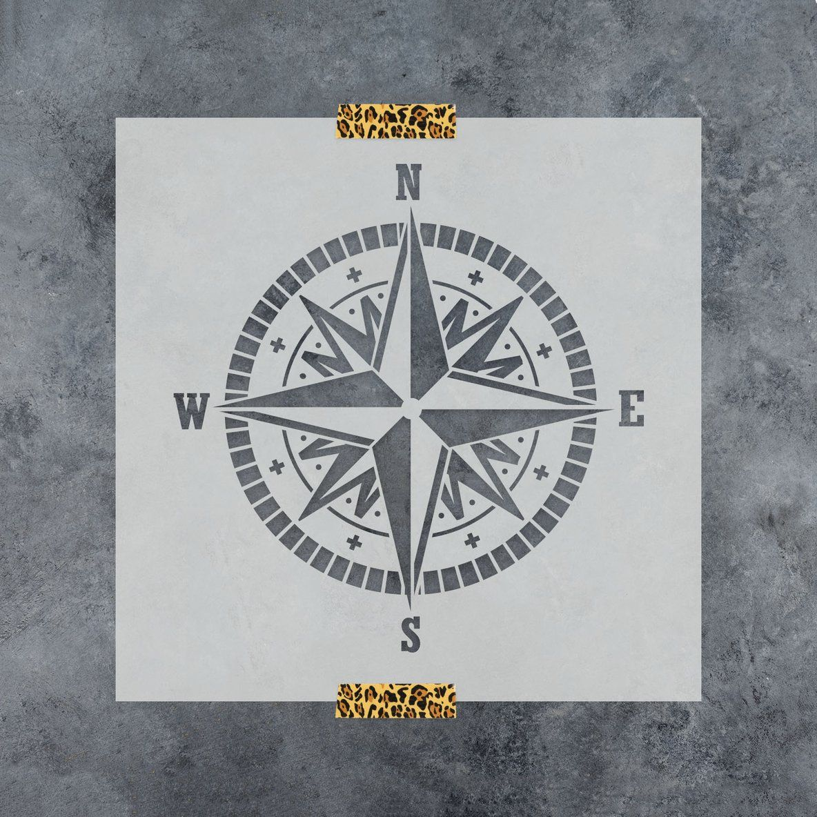 """Compass Stencil 12""""x12"""" (With images) Compass, World map"""