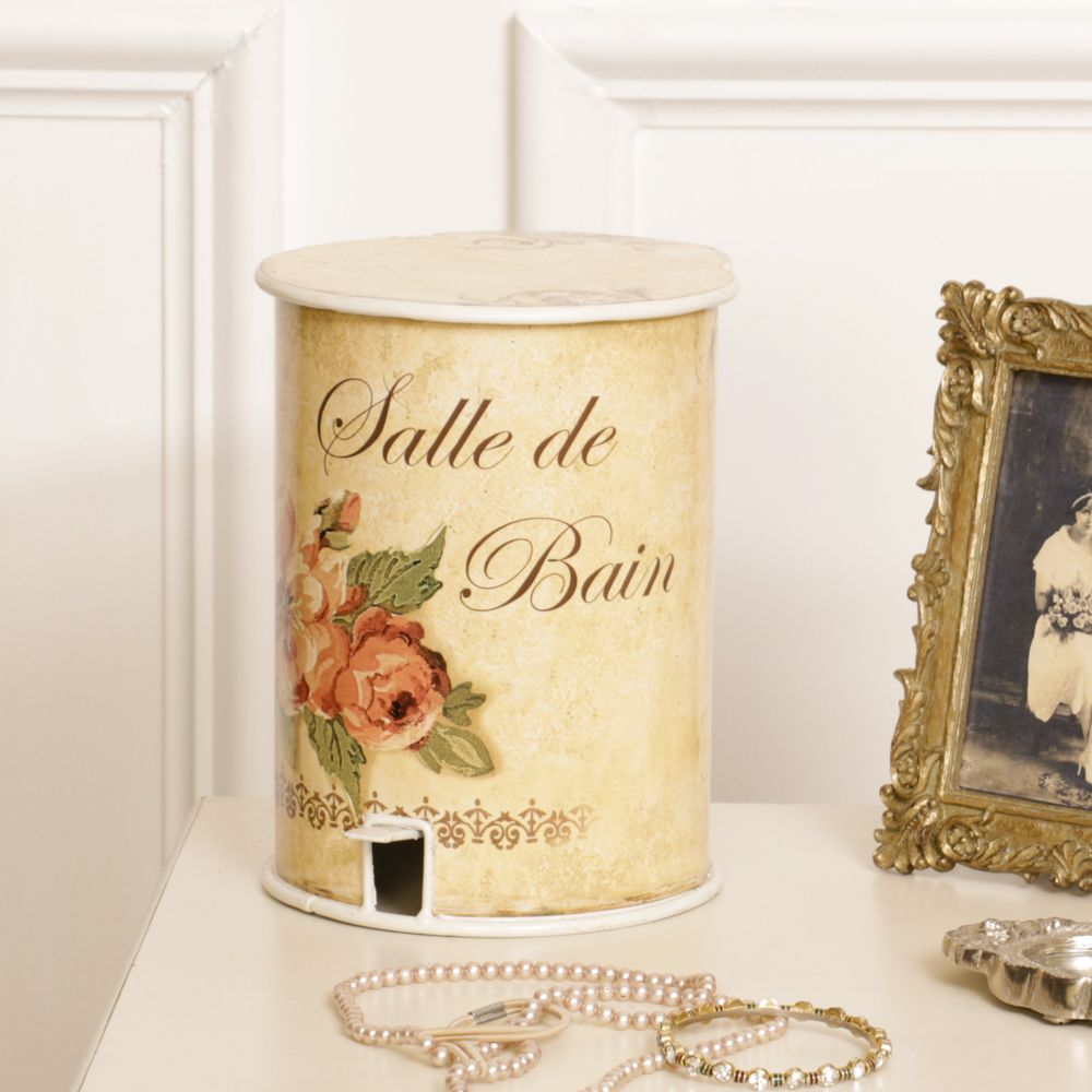 Metal pedal bin embellished in a beautiful vintage floral design to complement general bathroom decor. A very stylish addition with a distinctive French feel.